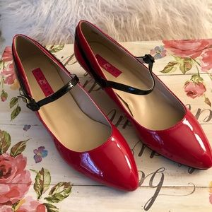 Pleasers Red Patten Leather strapping shoes